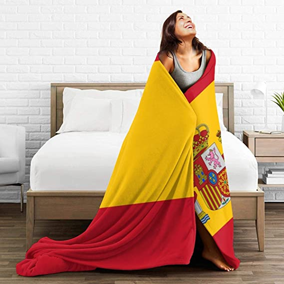 PecoStar - Manta de franela con diseño de la bandera de España ...