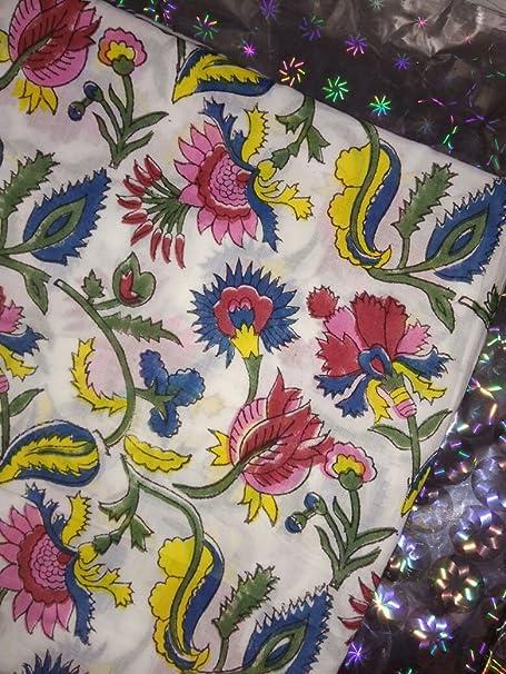 Hand Block Print Dress Material Indian Fabric Indian Hand Block Print Fabric Hand Block Print Fabric Sanganeri Print Fabric