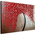 Wieco Art Red Flower Oil Paintings on Canvas Wall Art Ready to Hang for Living Room Bedroom Kitchen Home Decorations Large Mo