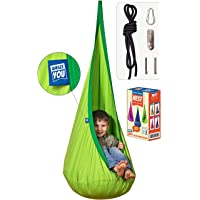 AMAZEYOU Kids Swing Hammock Pod Chair - Child's Rope Hanging Sensory Seat Nest for Indoor and Outdoor Use with Inflatable Pillow - Great for Children All Accessories Included (Nook Green)