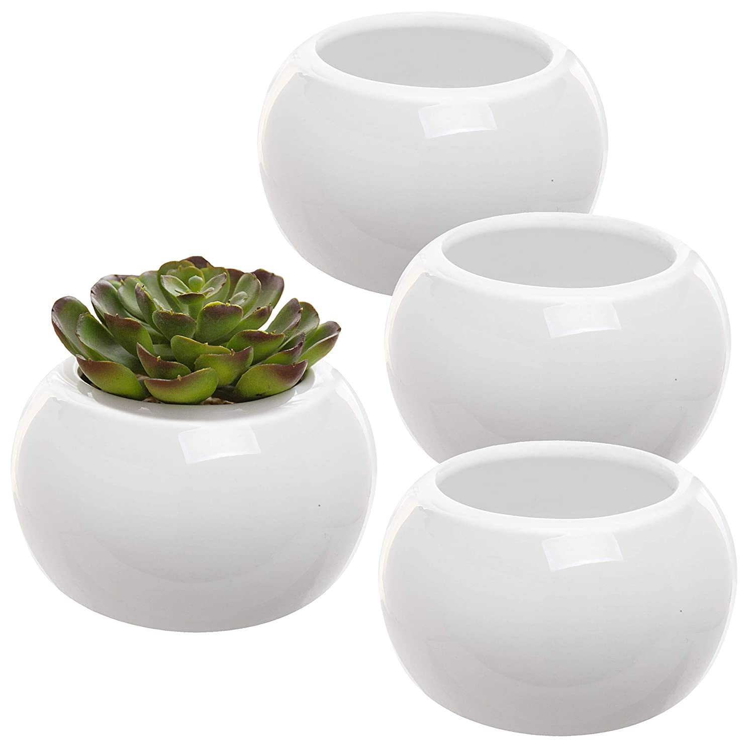 225 & MyGift Modern 3-Inch Round White Ceramic Planters Small Flower Pot Containers Set of 4