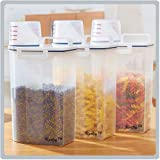Kurtzy Cereal Grains Rice Pasta Dispenser Storage Box Container Jar With Lid For Kitchen Multicolor 2300Ml Set Of 3 Lxbxh 15X7X23