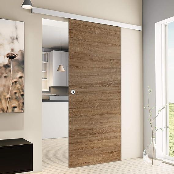 Puerta Corredera de madera de roble salvaje Juego completo con puerta corredera de Herraje 880 x 2035 mm puerta de madera & Carril Sistema de puerta corredera: Amazon.es: Hogar