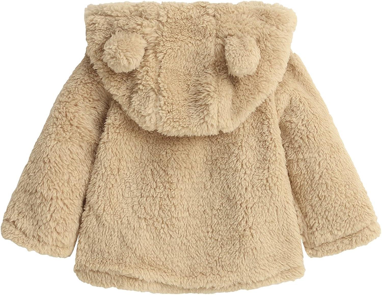Kidsform Baby Girls Boys Fleece Hoodie Jacket Coat Cloak Winter Warm Outwear Cardigan with Ears Beige 4-5Y