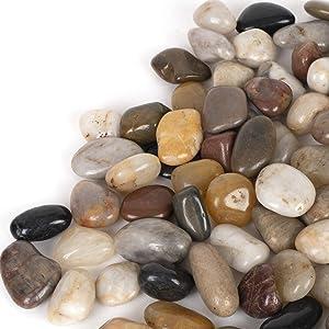 SHINESTAR 8LB River Pebbles, Pebbles for Plants, Decorative Rocks for Plants, Garden, Landscaping, Vase & Small Succulent Planter Pot, Highly Polished Gravel for Plants Drainage