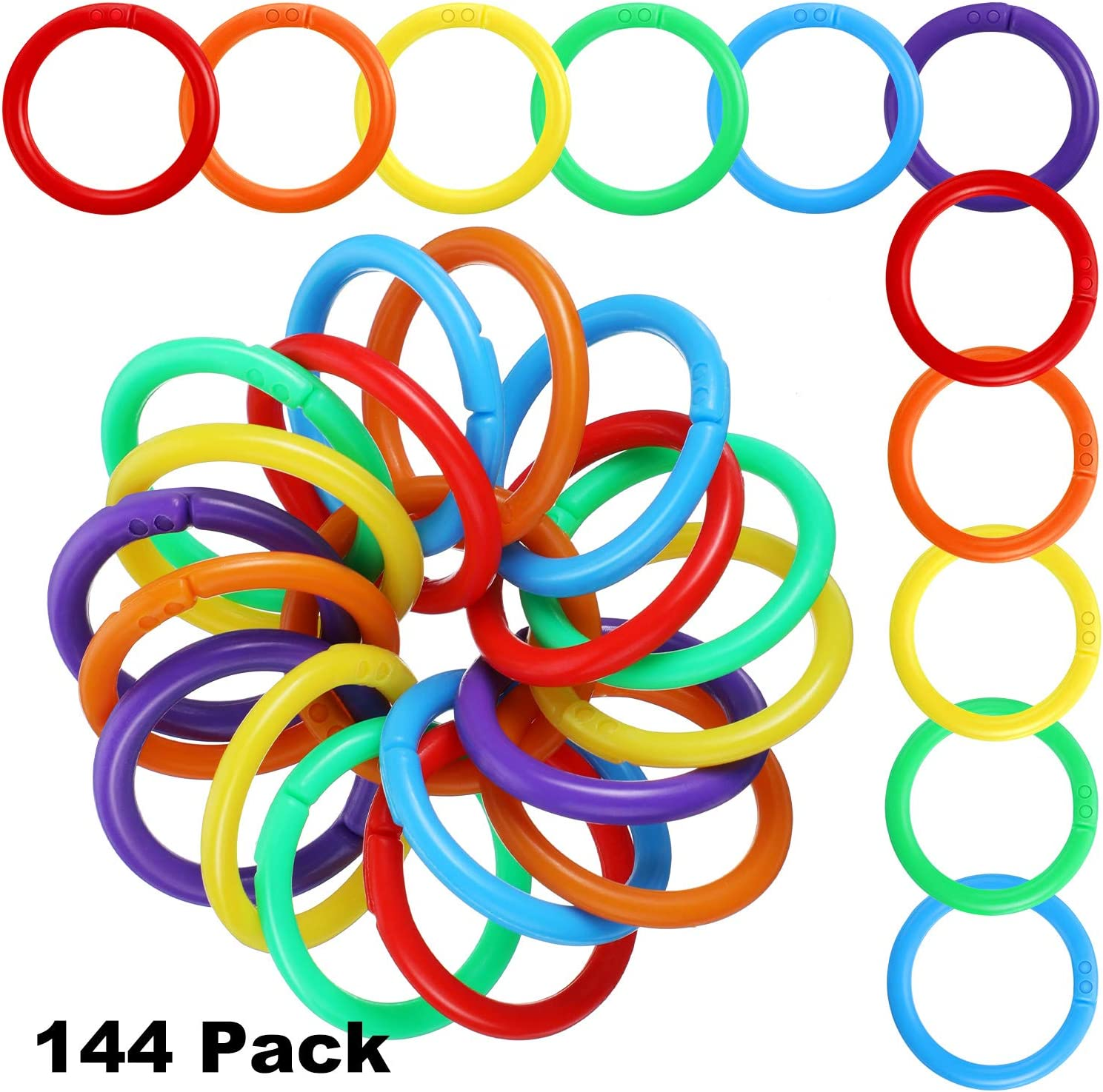 Document Stack and Swatches Organization School Home 6 Colors or Office Use 144 Pieces Plastic Loose Leaf Rings Multi-Color Binder Rings Plastic Book Rings Flexible for Cards