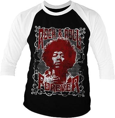 Jimi Hendrix Licenciado Oficialmente Rock n Roll Forever Baseball Camisa de Manga 3/4 para Hombre (Negro-Blanco): Amazon.es: Ropa y accesorios