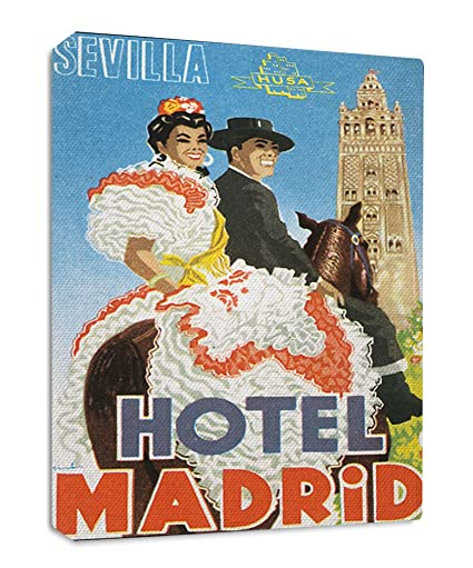 Amazon.com: Sevilla Hotel Madrid Old Travel Poster Streched ...