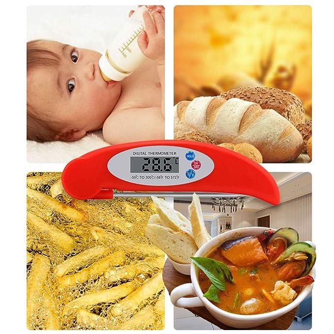 HOTSO Plegable Termómetro Digital de Cocina con Pincho de Acero Inoxidable Leer Rápida Medir Temperatura de Aceite, Sopa, Chocolate Termómetro de Bebidas ...