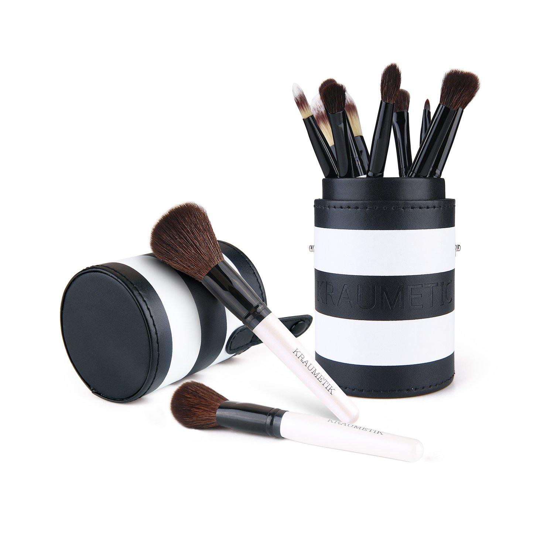 Kraumetik Foundation Makeup Brushes with Holder 12 Pieces Blending Eyeshadow Blush Powder Brush Kit