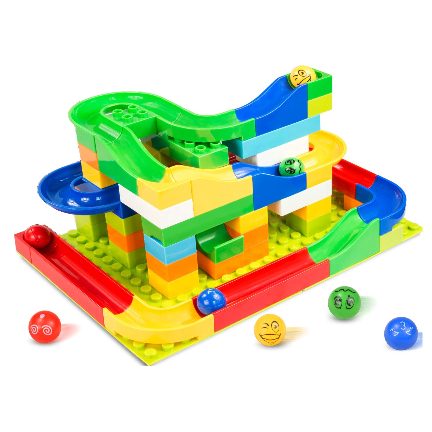 Elover Marble Run STEM Learning Toys Building Blocks Construction Toys Set Puzzle Race Track for Kids (73 Pieces)