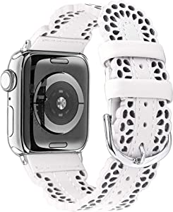 Secbolt Leather Bands Compatible with Apple Watch Band 42mm 44mm iWatch SE Series 6 5 4 3 2 1, Breathable Chic Lace Leather Strap for Women, Snow White