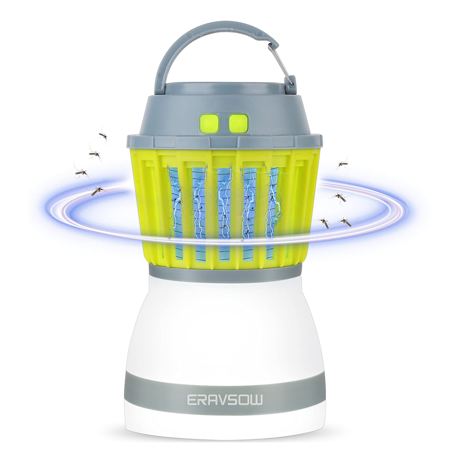 ERAVSOW Bug Zapper & LED Camping Lantern 2-in-1, Waterproof Rechargeable Mosquito Killer, Portable Compact Camping Gear for Home & Outdoors.