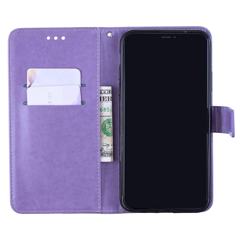 Surakey Kompatibel mit iPhone 11 Pro H/ülle Handyh/ülle Flip Case Pr/ägung Blumen Schmetterling PU Tasche Schutzh/ülle Brieftasche Wallet Tasche Ledertasche mit Kartenf/ächer Lederh/ülle,Lila