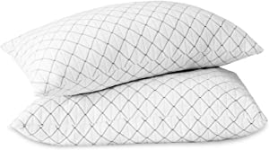 Allo Memory Foam Pillow King Size 2 Pack, Bed Pillows for Sleeping with Adjustable Loft, Cooling Bamboo Hypoallergenic Pillow with Washable Breathable Zip Cover and Cross-Cut Foam Filling
