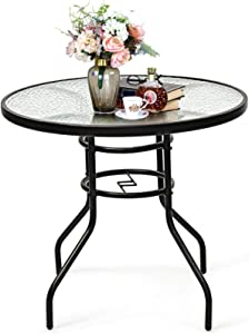 """Safstar Outdoor Patio Table, Tempered Glass Metal Table with Umbrella Hole, 32"""" Bistro Table for Garden Pool Side Deck Lawn"""