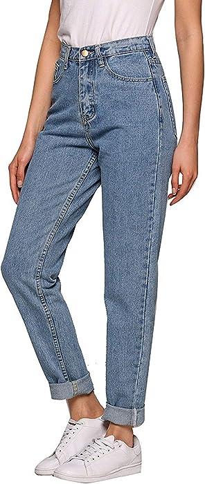 01a21bb6cb Women High Rise Modern Jeans Classic Fit Boyfriend Straight-Leg Denim Pants  (Light Blue