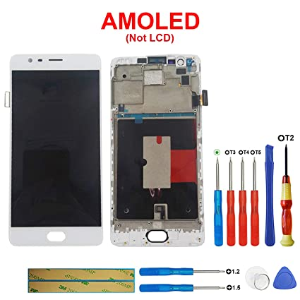 SWARK AMOLED Display Compatible with OnePlus 3/3T A3010 OnePlus Three 3  A3000 A3003 Touch Screen Digitizer Assembly with Frame (White)