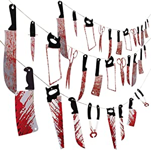 Halloween Bloody Weapons Garland Banner, Oasisblossom 3 Set Halloween Bloody Banner Scary Hanging Banner Decor for Halloween Party Decorations Haunted House Props Zombie Party Supplies