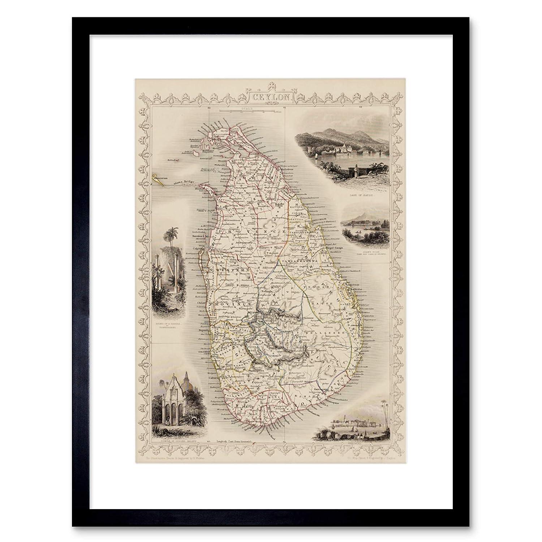 Ceylon Sri Lanka Map Framed Art Print F12X 11334 nero Wee Blue Coo LTD