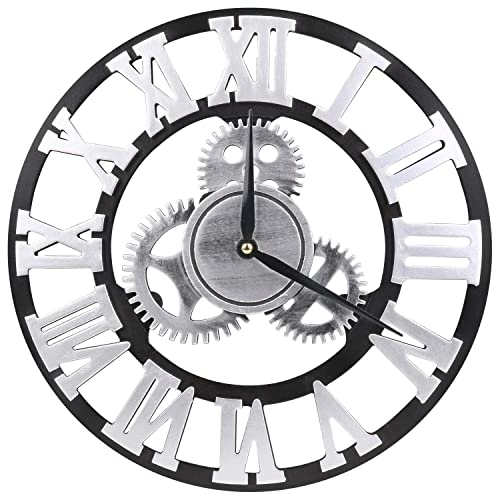 VIKMARI 14 inch Noiseless Gear Wall Clock – Retro Rustic Country Roman Numeral Wooden 3D Vintage Round Non-Ticking Silent Quartz Wall Clocks Home and Office Art Decoration Sliver Clocks