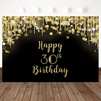 Mehofoto Happy 30th Birthday Backdrop Gold and Black Spot Photo Studio Booth Background 8x6ft Vinyl 30th Birthday Party Banner for Photography, Party ...