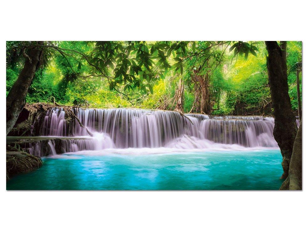 GRAZDesign 100479_001_01_04 Glasbild aus Acryl   Wandbild mit Wasserfall in der Wildnis   Hochwertiges Panoramabild als Wand-Deko für Wohnzimmer   Kunstdruck (100x50cm)