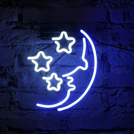 FUYALIN Neon Sign Black Friday U0026 Christmas Gift  MOON U0026 STAR Home Decor Light  Bedroom