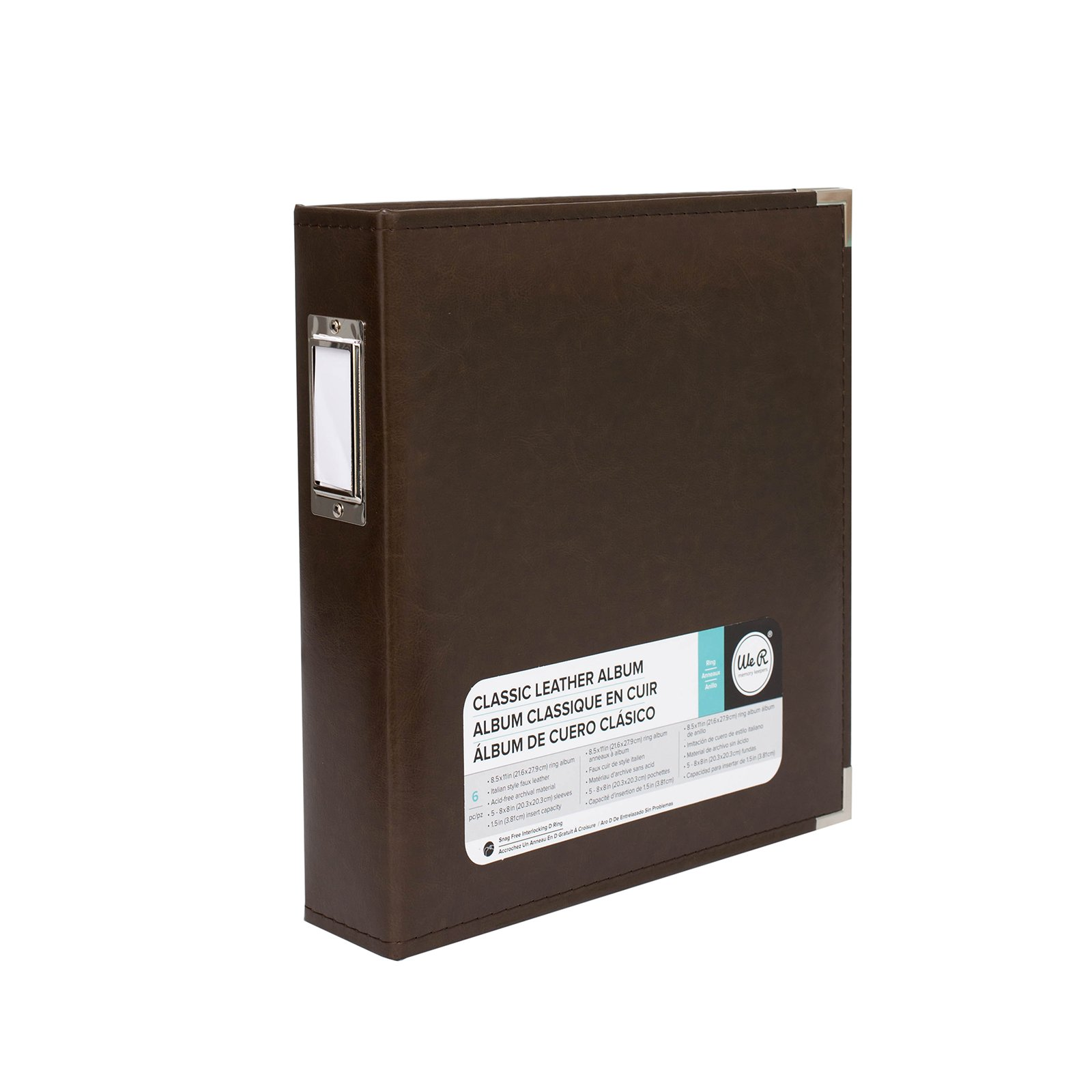 8.5 x 11-inch Classic Leather 3-Ring Album by We R Memory Keepers   Dark Chocolate, includes 5 page protectors