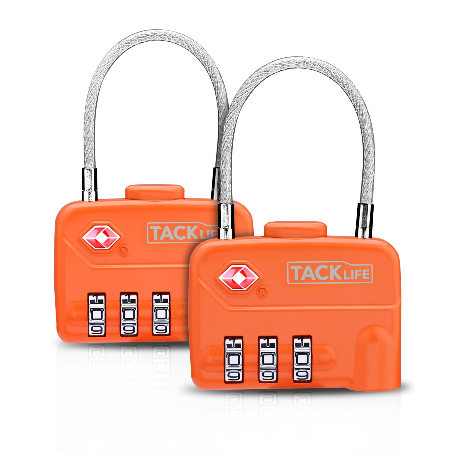 Luggage Locks, TACKLIFE HCL1A Cable Locks, TSA Approved Travel Locks, Flexible Locks, 3Digit Combination Locks for Gym, School, Locker, Outdoor, Fence, Suitcase & Baggage - Orange by TACKLIFE (Image #1)