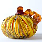 Glitzhome 4.21 Inch Rainbow Striped Hand Blown Glass Pumpkin Table Accent for Fall Harvest Decorating for Mother