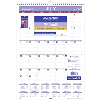 Amazon.Com : At-A-Glance Academic Wall Calendar, July 2017 - June