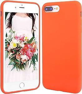 Beatuiphone Case Compatible iPhone 7 Plus,iPhone 8 Plus, Liquid Silicone Gel Rubber Shockproof Case with Microfiber Cloth Lining Cushion (Orange)