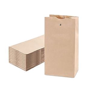 [200 Pack] Kraft Paper Bags 9.75 x 5 x 3.13