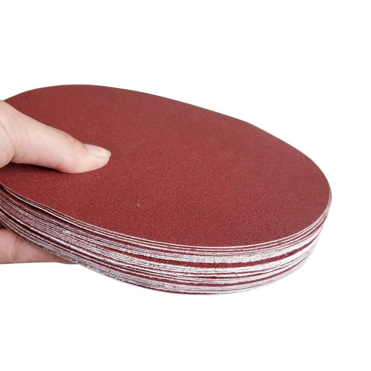 Dyna-Living 30 PCS 9-Inch NO-Hole PSA Aluminum Oxide Sanding Disc, Self Stick(5 Each of 80 100 120 180 240 400)