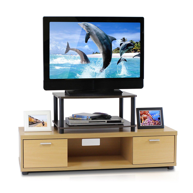 Furinno 13191DBR//BK Turn-N-Tube No Tools 2-Tier Elevated TV Stand Dark Brown//Black
