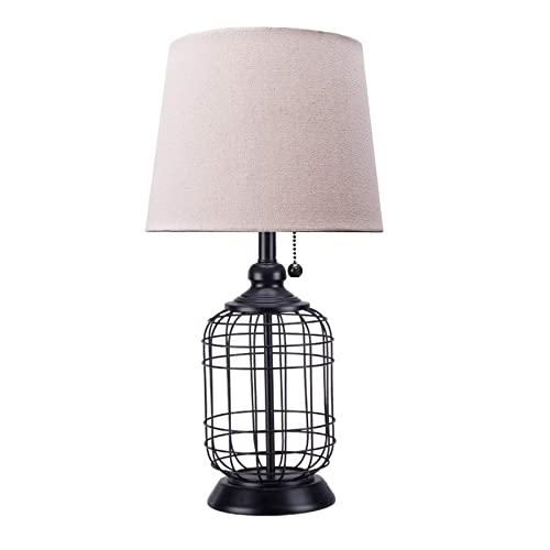 CO-Z Modern Black Birdcage Base Table Lamp, Industrial Anti-Rust Metal Base, Mid Century Oatmeal Linen Shade, Retro, 18 Inches Height for Entryway Table, Living Room Bedroom Bedside