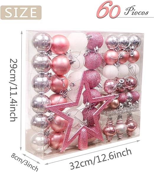 Rose Zinsale 6cm//2.36 12PCs Arbre Boules De No/ël Incassable en Plastique De No/ël Boules Arbre D/écorations Ornement Pendentifs F/ête D/écor