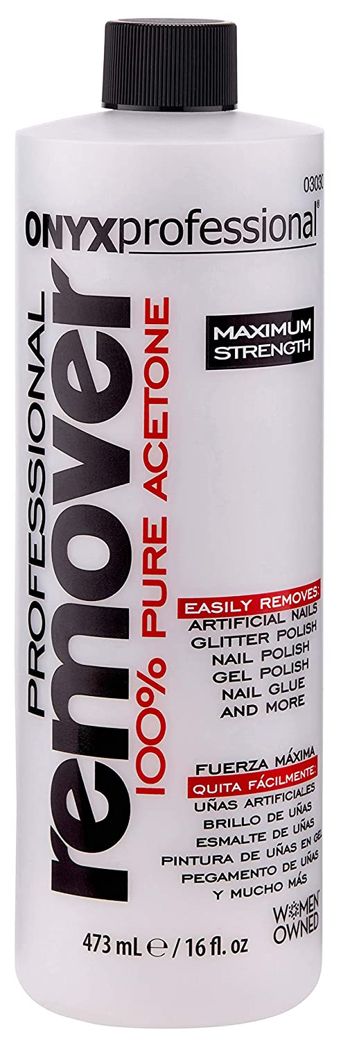 Onyx Professional 100% Acetone Nail Polish Remover, 16 Ounce Removes All Nail Polishes, Fake Nails & More