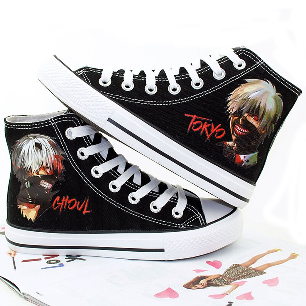 802443a68396f Telacos Tokyo Ghoul Anime Kaneki Ken Cosplay Shoes Canvas Shoes Sneakers  Black/White