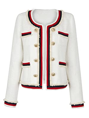 Choies Women White Contrast Trim Collarless Raw Edge Buttoned Vintage Coat S