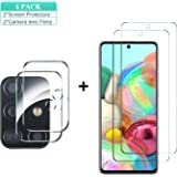 Gesma Screen Protector and Camera Lens Protector for Samsung Galaxy A71, [2 Screen Protectors+2 Camera Protectors] Bubble Free Scratchproof 9H Tempered Glass for Samsung Galaxy A71 (Clear)