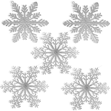 Christmas Snowflakes.Banberry Designs Large Snowflakes Set Of 5 Silver Glittered Snowflakes Christmas Snowflake Ornaments Approximately 12 D