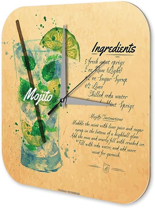 Horloge murale  Recette du cocktail Mojito Cuisine Décoration Acrylglas
