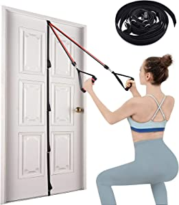 Brebebe Door Anchor Strap for Resistance Bands Exercises, Multi Point Anchor Gym Attachment for Home Fitness, Portable Door Band Resistance Workout Equipment, Easy to Install, Punch-Free, Nail-Free