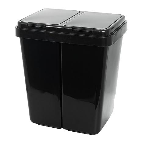 Grizzly Cubo de Basura - 2 Compartimentos - Doble contenedor con Separador con Capacidad de 2 x 25 l - Antracita