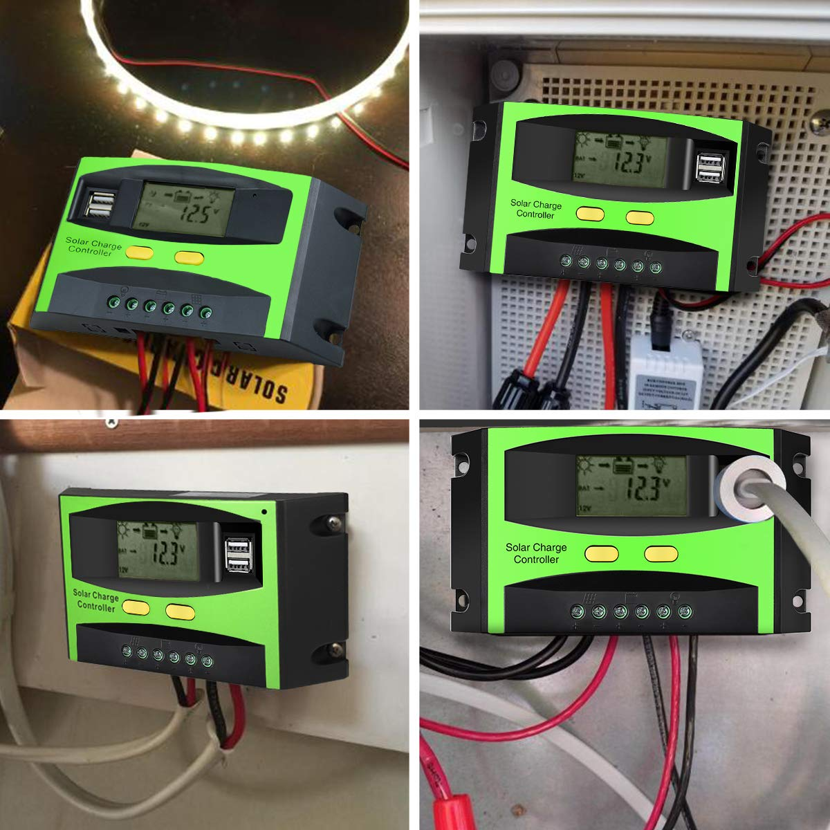 MOHOO Solar Charge Controller, 30A Solar Charger Controller, 12V/24V Solar Panel Intelligent Regulator with Dual USB Port and PWM LCD Display by MOHOO (Image #5)