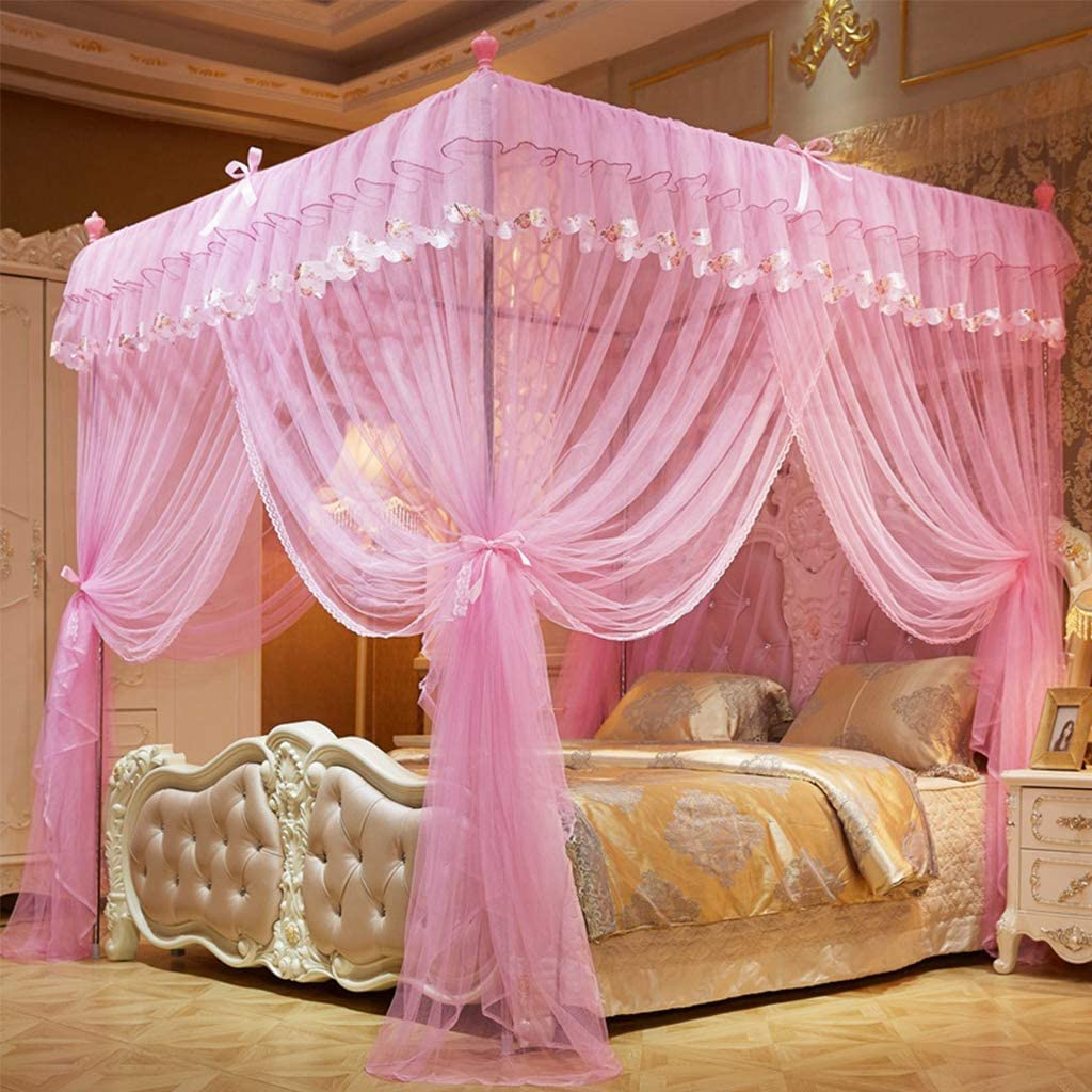 pink 150x200cm CJJC 3 opening princess dream mosquito nets court square stainless steel double size bed canopy for home bedroom decoration