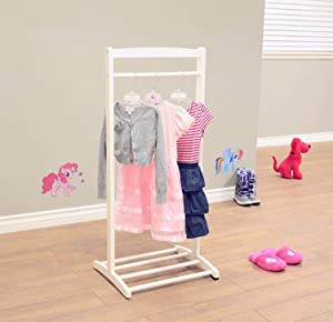 White Kids Dress Up Rack, Child Garment Rack, Girls Toddlers Clothes Rack, Dress Up Storage Kids Costume Organizer, Hanging Armoire Closet Unit Furniture for Dramatic Play