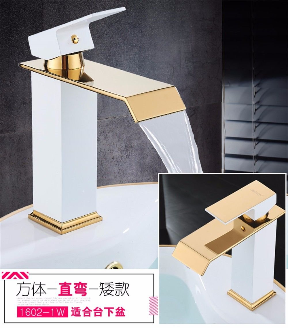 Lalaky Taps Faucet Kitchen Mixer Sink Waterfall Bathroom Mixer Basin Mixer Tap for Kitchen Bathroom and Washroom Copper Hot and Cold gold-Plated Paint Waterfall